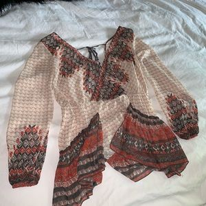 Free People Blouse open back and deep v neck